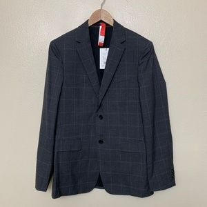 Theory Wellar Suit Charcoal Grid Tailoring Wool